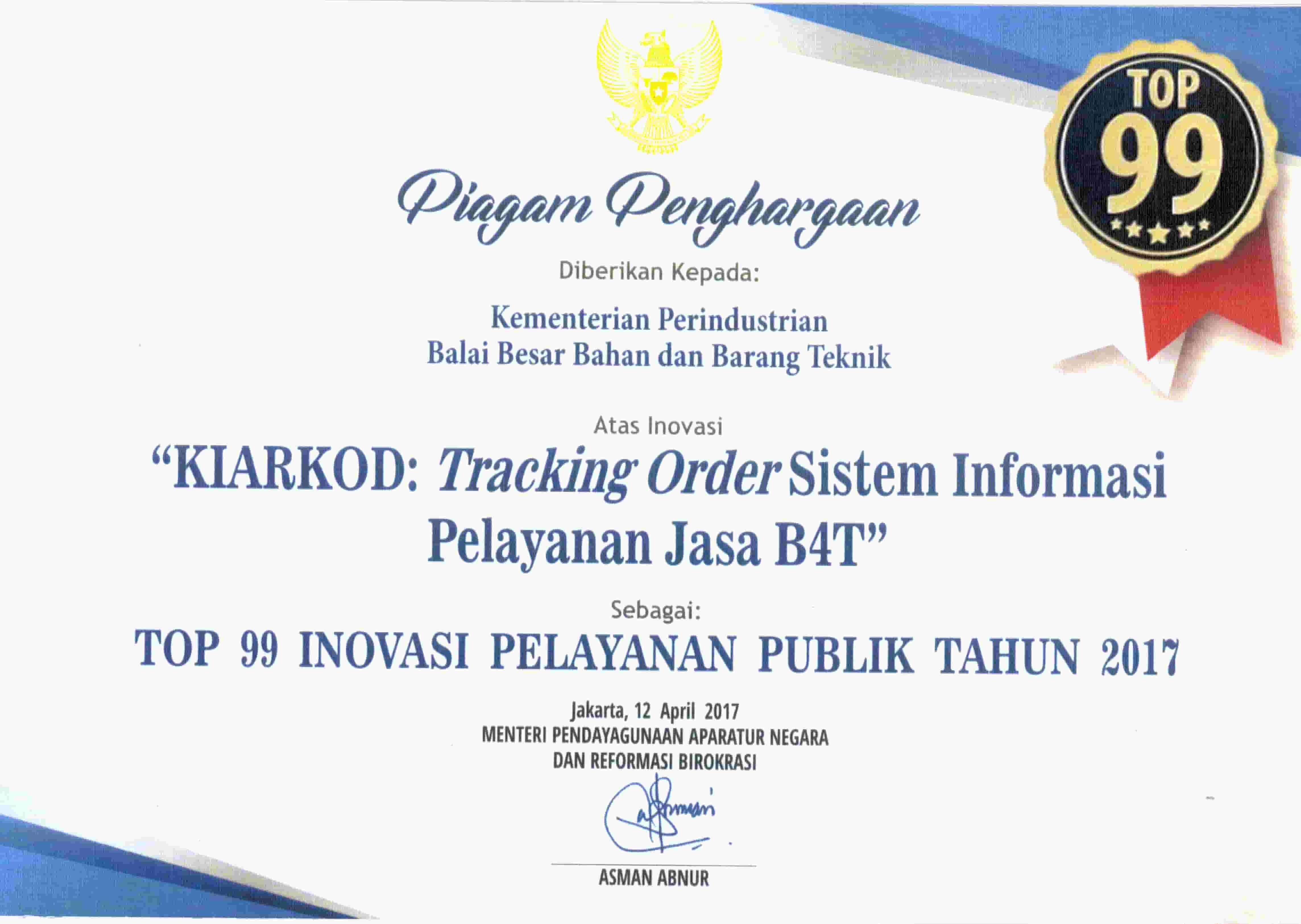 Penghargaan Top 99 SINOVIK18082017