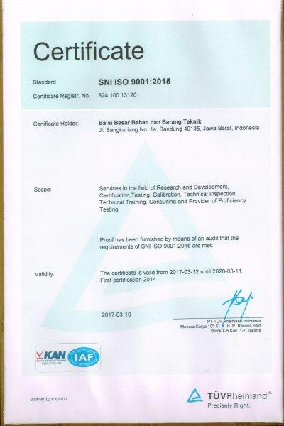 Akreditasi Laboratorium - Sertifikat ISO 9001 2015