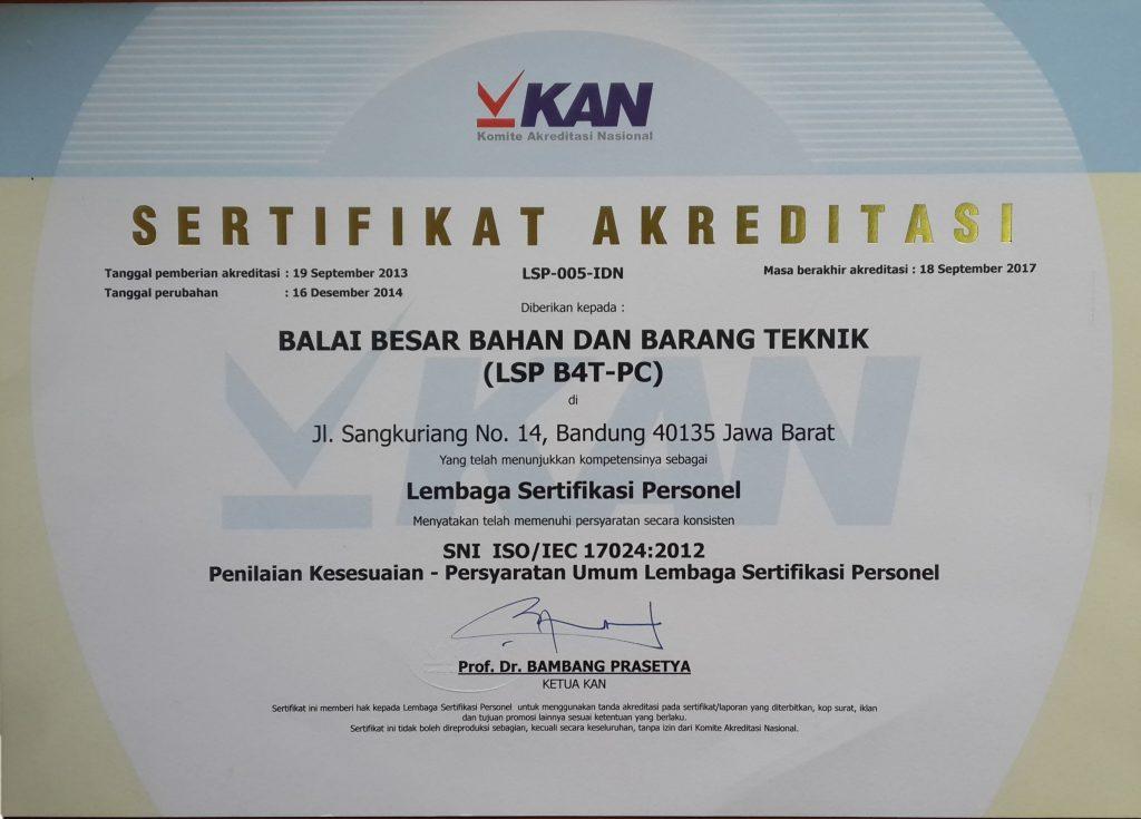 Akreditasi Laboratorium - Sertifikat akreditasi personil