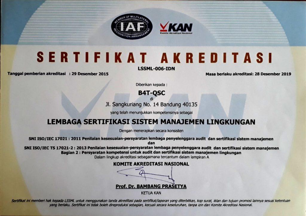 Akreditasi Laboratorium - Sertifikat akreditasi sistem manajemen lingkungan