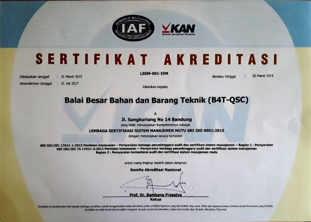 Akreditasi Laboratorium - Sertifikat akreditasi sistem manajemen mutu